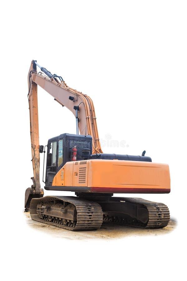 Opinião traseira da máquina escavadora Máquina escavadora amarela velha no trabalho do canteiro de obras na areia no fundo branco imagem de stock royalty free