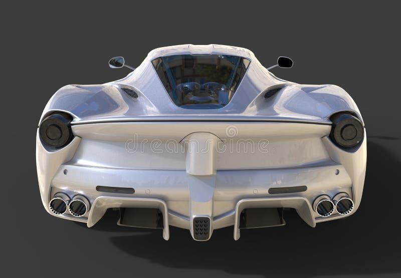 Opinião traseira de carro de esportes A imagem de um carro cinzento dos esportes em um fundo preto ilustração 3D ilustração do vetor