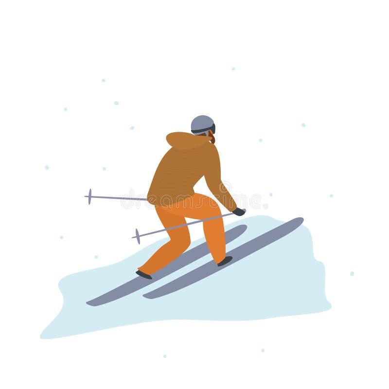 Opinião traseira de esqui do homem, ilustração isolada atividade do vetor dos esportes de inverno ilustração do vetor