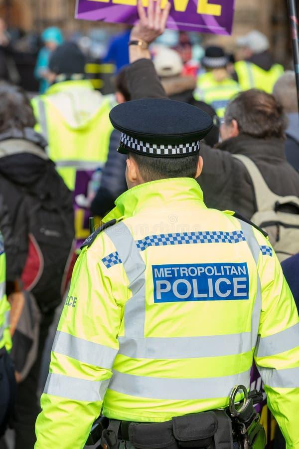 Opinião traseira do retrato o agente da polícia não-informado de Londres fotografia de stock royalty free