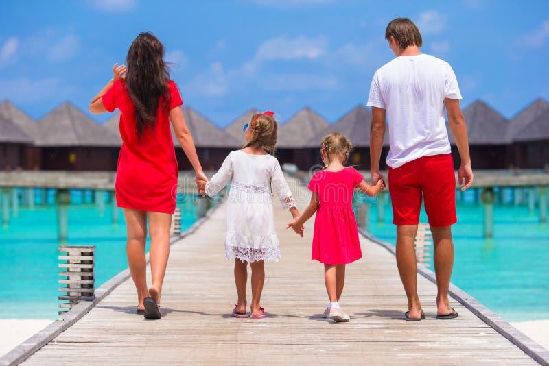 Opinião traseira a família bonita no molhe de madeira imagem de stock royalty free