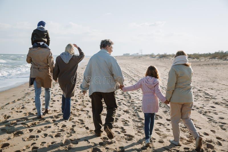 opinião traseira a família multigenerational grande que anda junto fotografia de stock