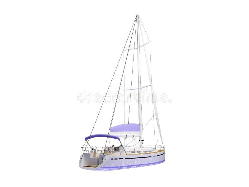Opinião traseira isolada barco da embarcação ilustração royalty free