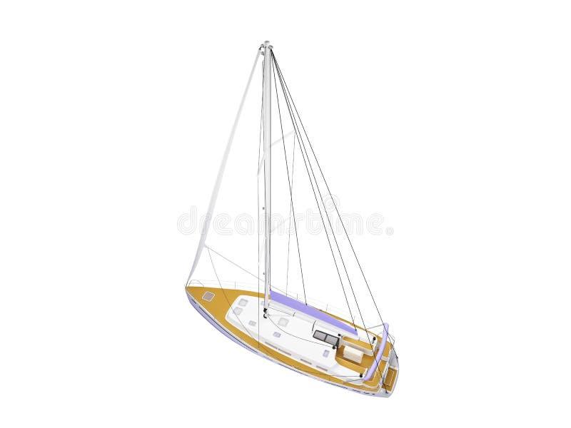 Opinião traseira isolada barco da embarcação ilustração stock