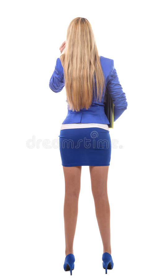 Opinião traseira a mulher de negócios bonita nova, isolada no branco fotos de stock