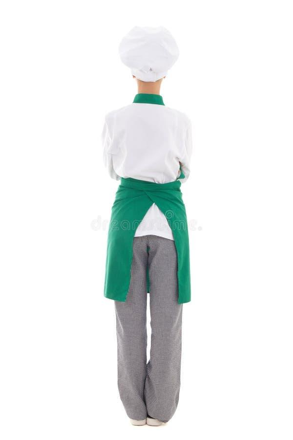 Opinião traseira a mulher no uniforme do cozinheiro chefe - comprimento completo isolada imagens de stock royalty free