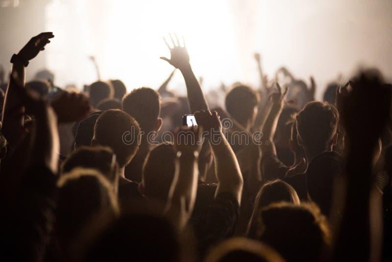 Opinião traseira a multidão do festival fotografia de stock