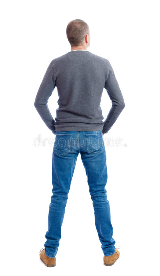Opinião traseira o homem nas calças de brim imagem de stock royalty free