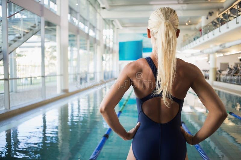 Opinião traseira o nadador fêmea do ajuste pela associação no centro do lazer foto de stock