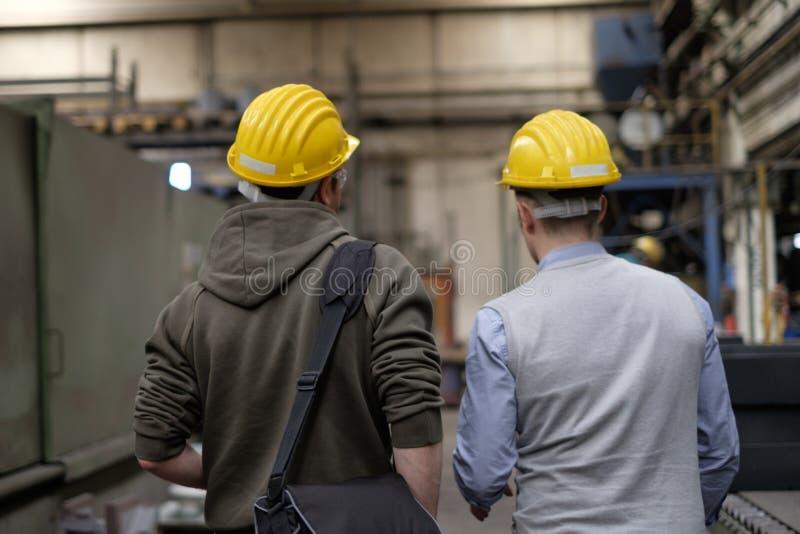 Opinião traseira o trabalhador e o coordenador fotos de stock royalty free