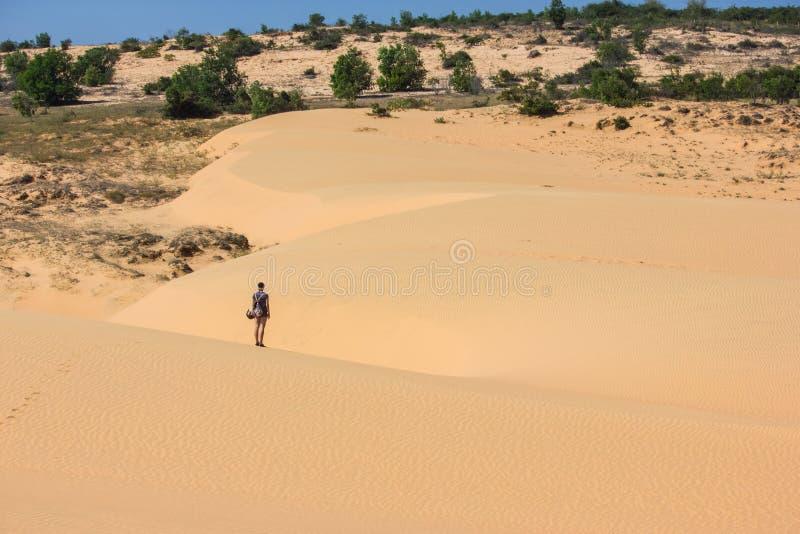 opinião traseira a pessoa só que está no deserto, Vietname, imagens de stock