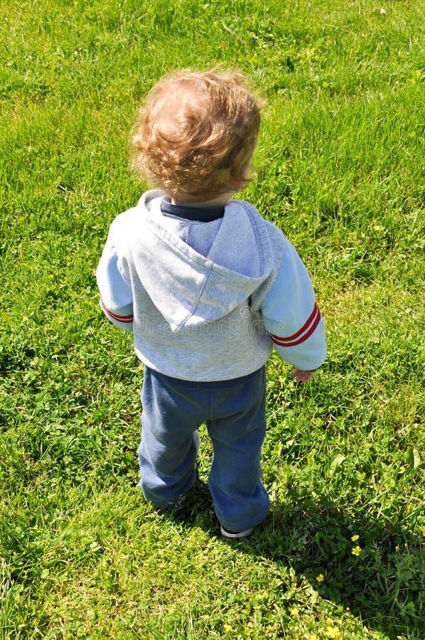 Opinião traseira uma criança foto de stock
