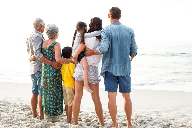 Opinião traseira uma família feliz que levanta na praia fotografia de stock