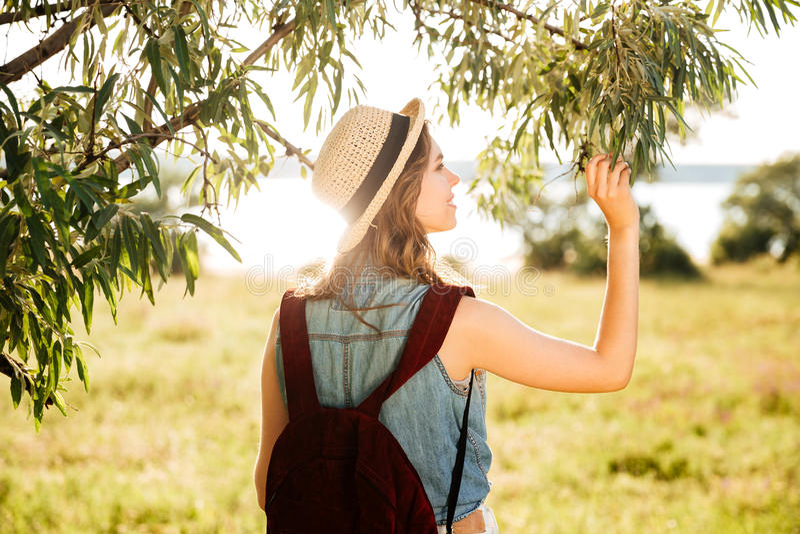 Opinião traseira uma menina bonita que viaja na floresta imagem de stock royalty free