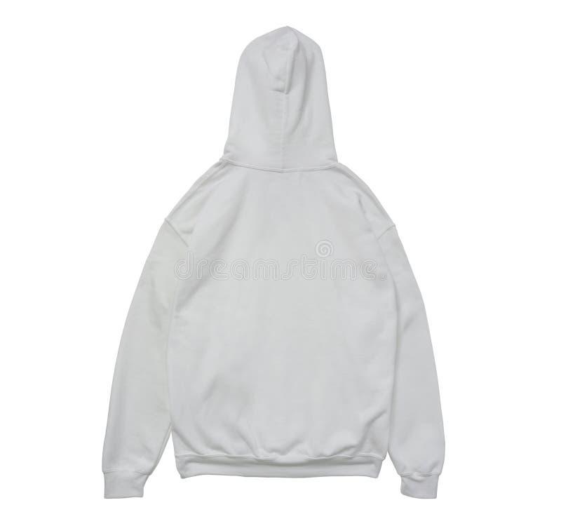 Opinião vazia da parte traseira do branco da cor da camiseta do hoodie foto de stock royalty free