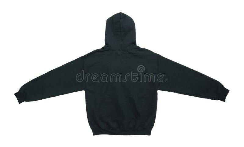 opinião vazia da parte traseira do preto da cor da camiseta do hoodie imagens de stock