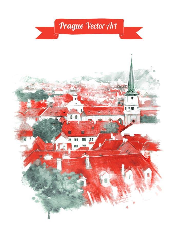 Opinião velha da skyline de Praga ilustração royalty free