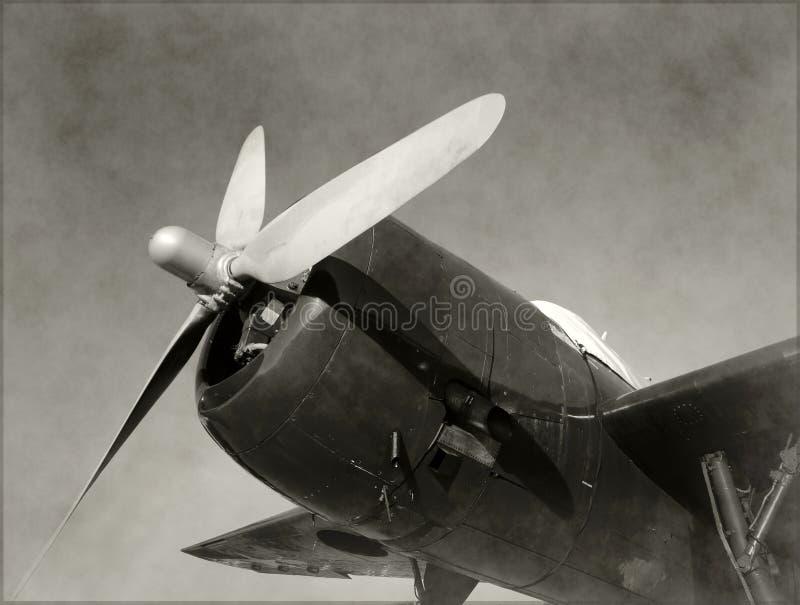 Opinião velha do nariz do avião do lutador imagens de stock
