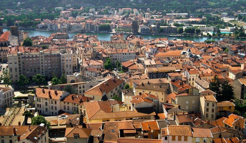 Opinião Vienne do telhado da cidade, França fotografia de stock