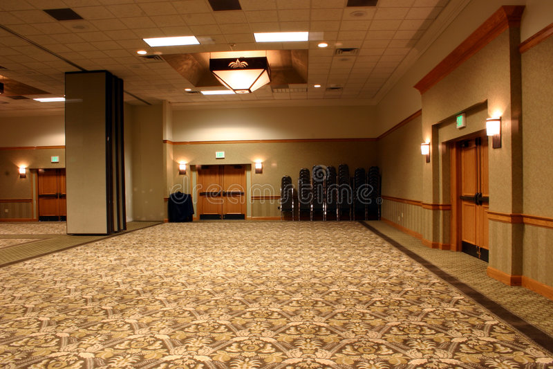 Opinión 2 del salón de baile del hotel fotografía de archivo