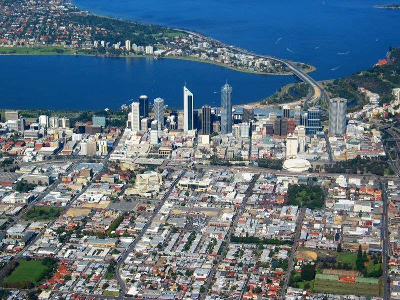 Opinión aérea 4 de la ciudad de Perth fotografía de archivo libre de regalías