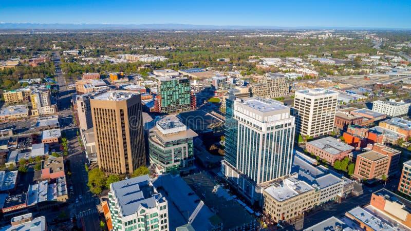 Opinión aérea Boise Idaho en el tiempo de primavera imagen de archivo libre de regalías