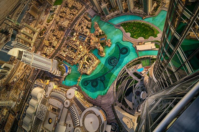 Opinión aérea céntrica de Dubai, Dubai, United Arab Emirates foto de archivo