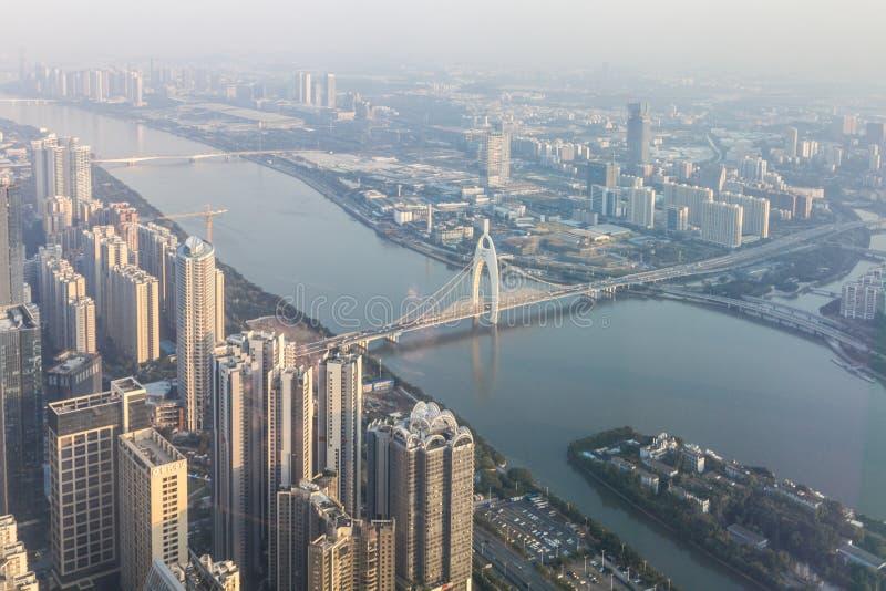 Opinión aérea céntrica de Guangzhou, China imagenes de archivo
