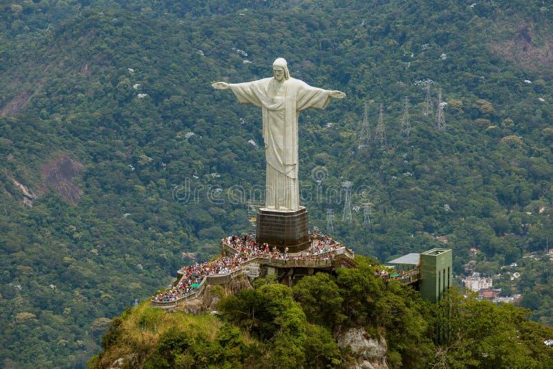 Opinión aérea Cristo la plataforma de la estatua del redentor imagen de archivo libre de regalías
