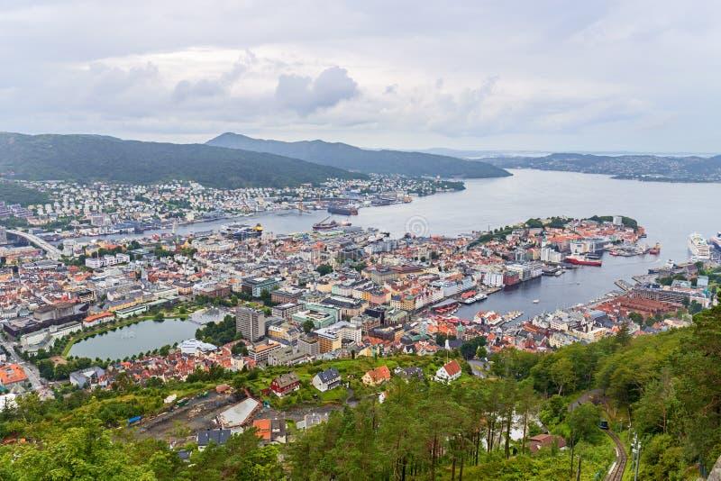 Opinión aérea de Bergen, Noruega fotografía de archivo libre de regalías