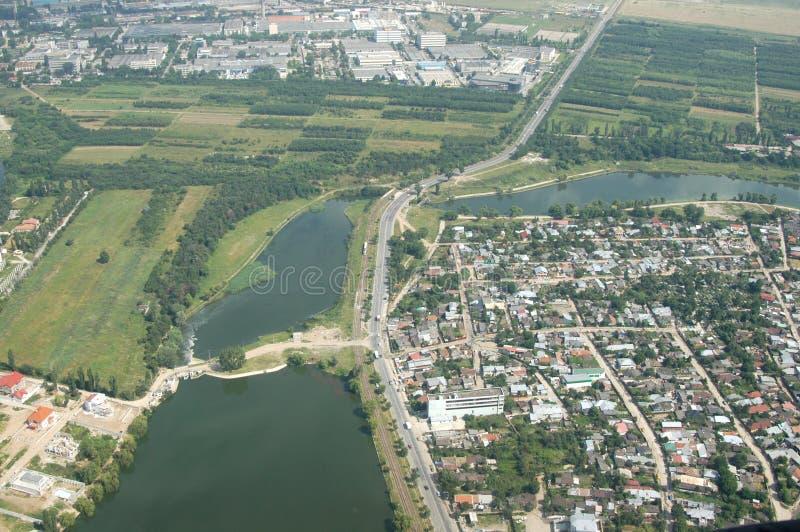 Opinión aérea de Bucarest imagenes de archivo