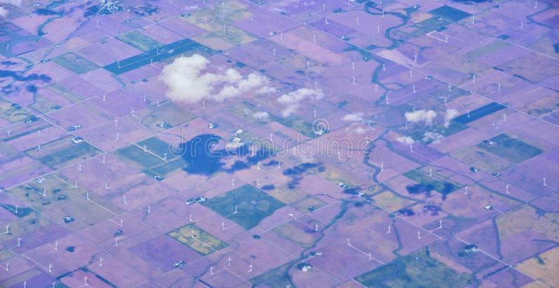 Opinión aérea de Cloudscape sobre los estados de cercano oeste en vuelo sobre Colorado, Kansas, Missouri, Illinois, Indiana, Ohio fotos de archivo