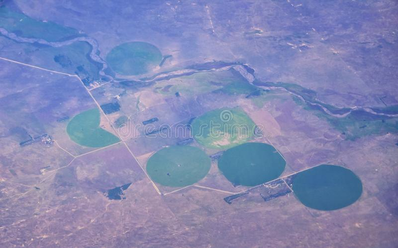 Opinión aérea de Cloudscape sobre los estados de cercano oeste en vuelo sobre Colorado, Kansas, Missouri, Illinois, Indiana, Ohio fotos de archivo libres de regalías