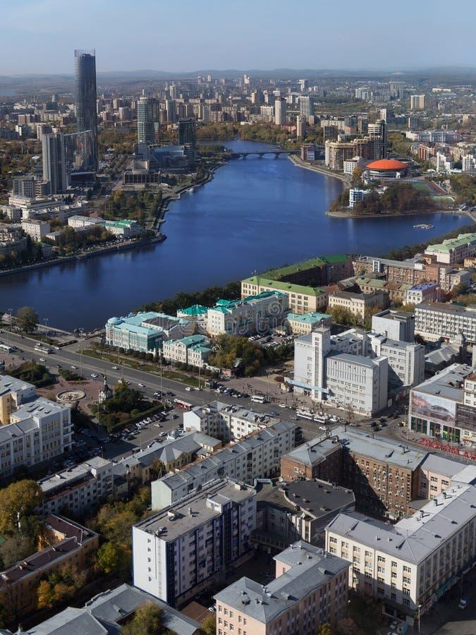 Opinión aérea de Ekaterimburgo fotografía de archivo