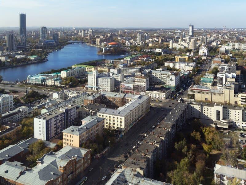 Opinión aérea de Ekaterimburgo imagen de archivo