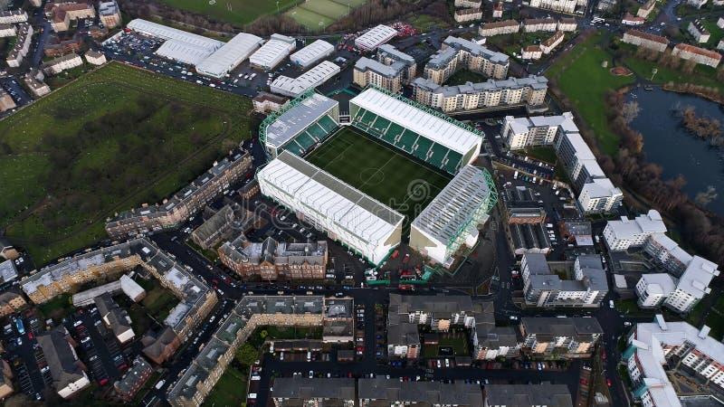 Opinión aérea de FC Pascua del estadio de fútbol Hibernian del camino foto de archivo libre de regalías