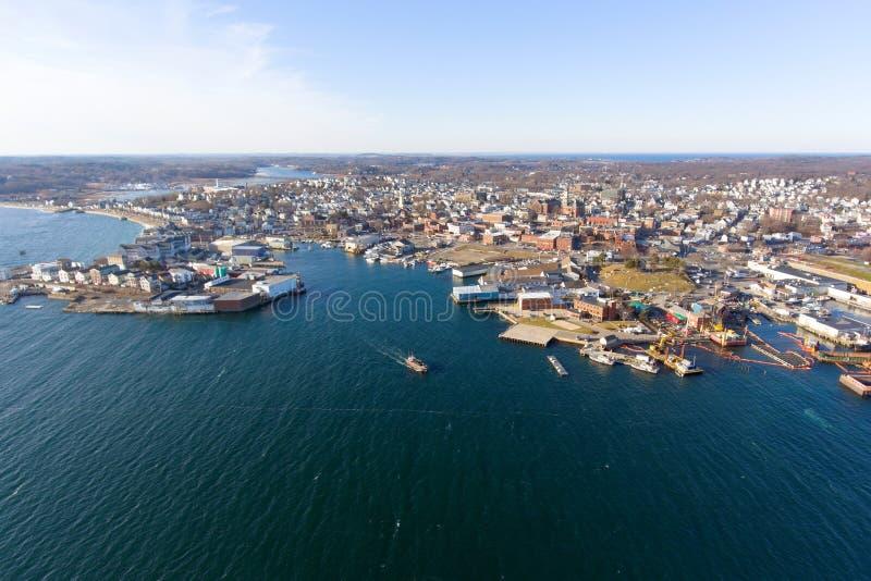 Opinión aérea de Gloucester, cabo Ana, Massachusetts imagen de archivo libre de regalías