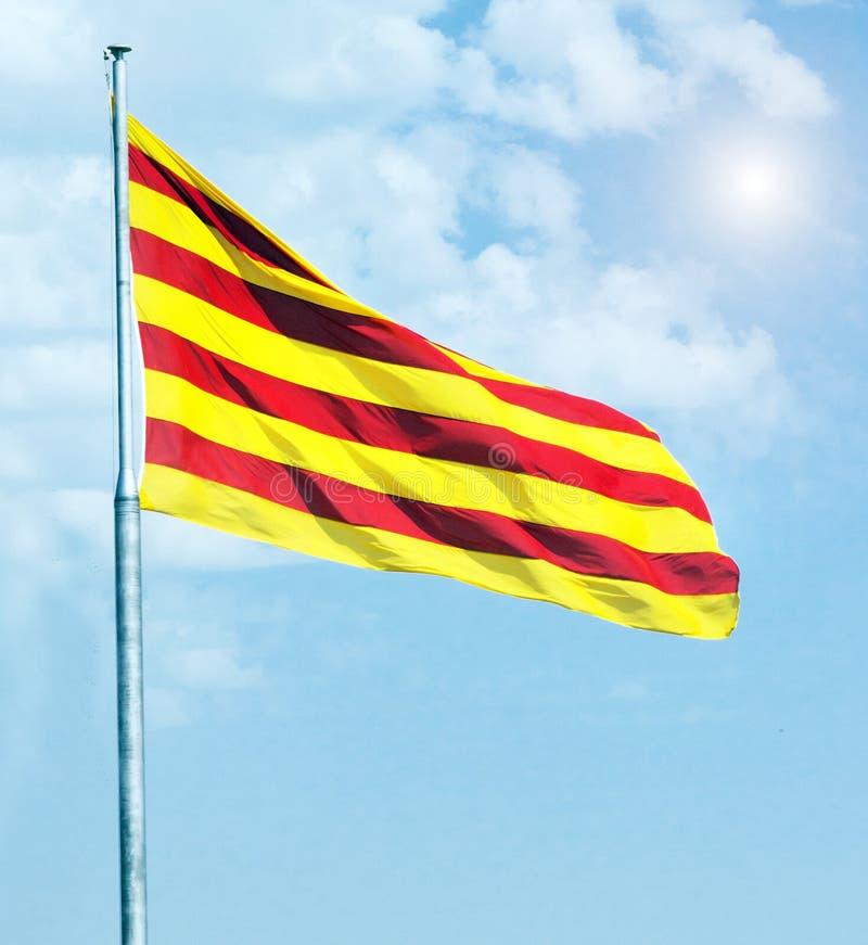 Opinión aérea de la bandera catalana fotografía de archivo
