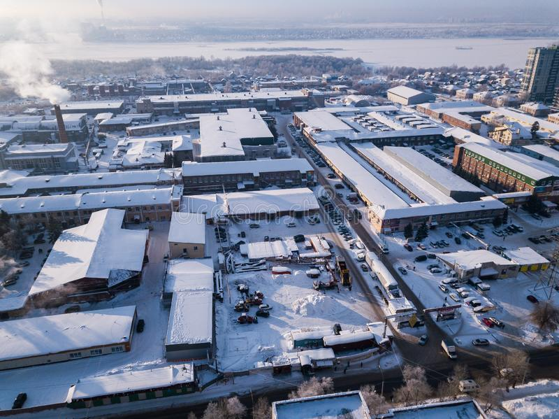 Opinión aérea de la ciudad foto de archivo