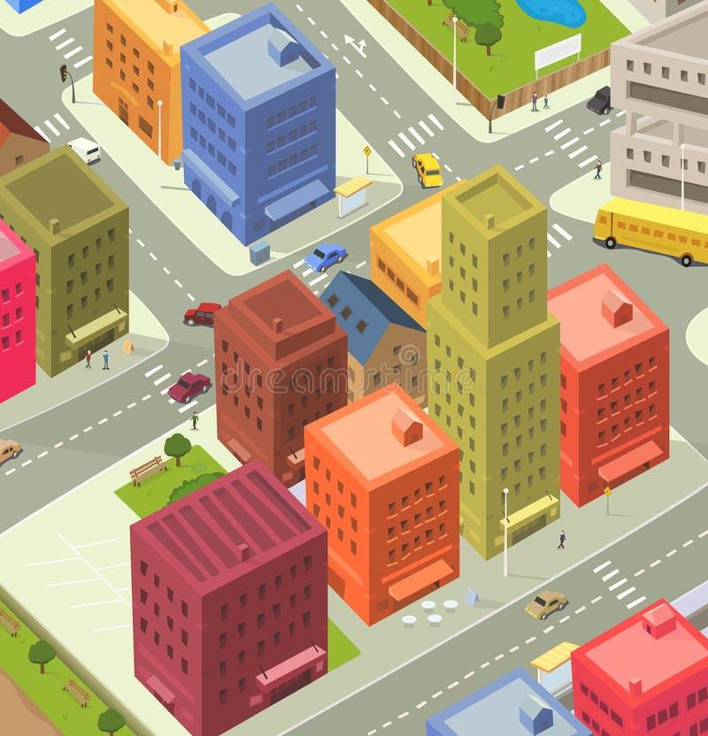 Opinión aérea de la ciudad de la historieta ilustración del vector