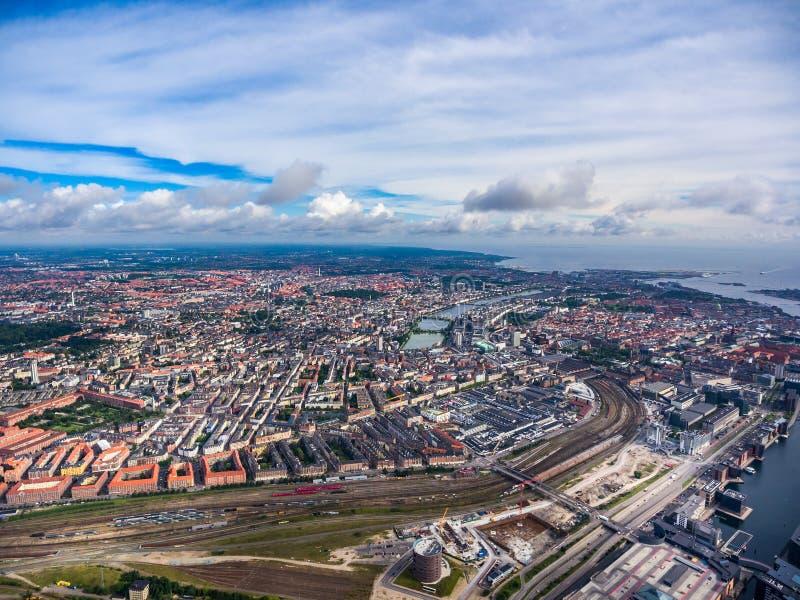 Opinión aérea de la ciudad sobre Copenhague imagen de archivo libre de regalías
