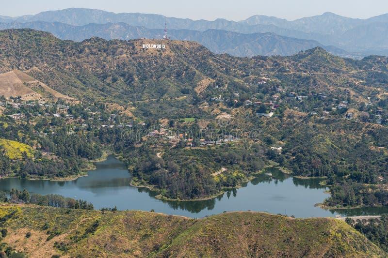 Opinión aérea de la muestra del depósito de Hollywood y de Hollywood imagenes de archivo