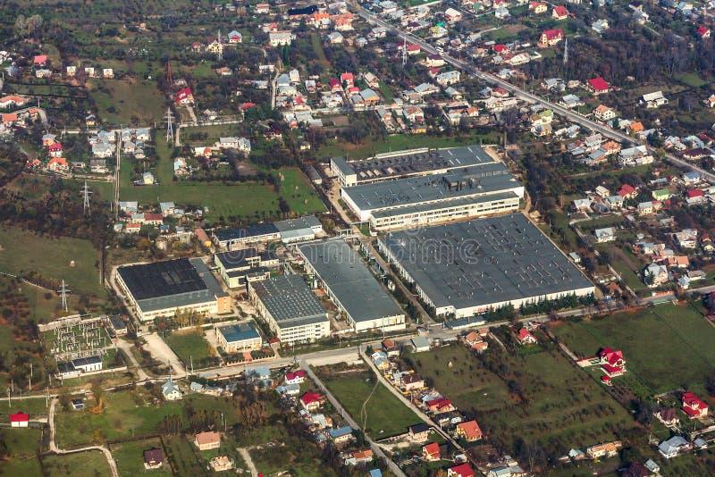 Opinión aérea de la planta industrial foto de archivo