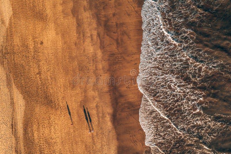 Opinión aérea de la playa del océano con las ondas enormes por el desierto imágenes de archivo libres de regalías