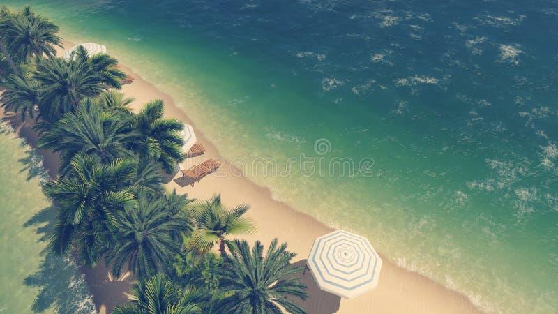 Opinión aérea de la playa tropical y del océano claro ilustración del vector