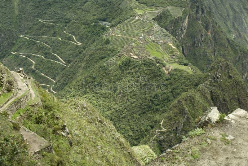 Opinión aérea de Machu Picchu imagen de archivo