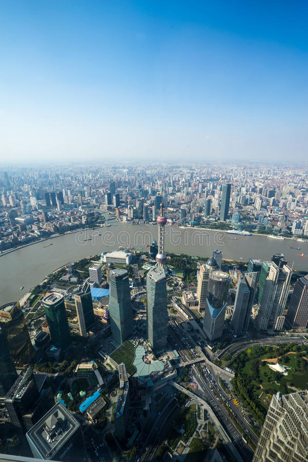 Opinión aérea de Shangai foto de archivo libre de regalías
