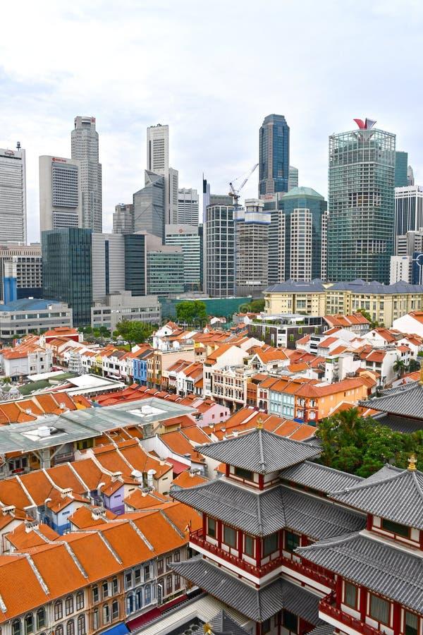 Opinión aérea 2018 de Singapur Chinatown foto de archivo