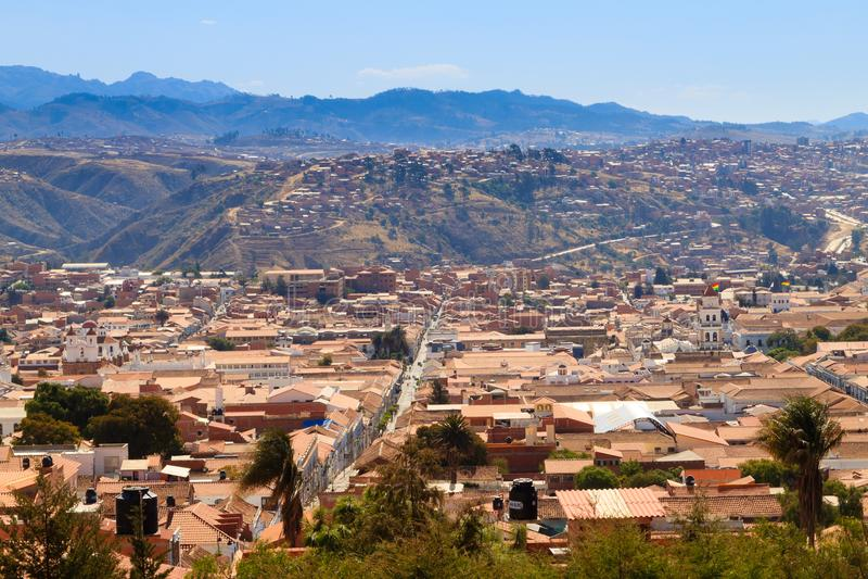 Opinión aérea de Sucre, Bolivia foto de archivo