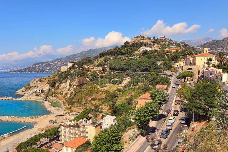 Opinión aérea de Ventimiglia. foto de archivo libre de regalías